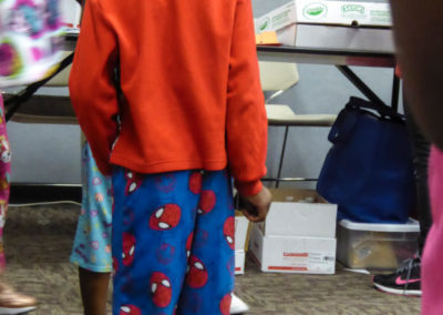 Child in Spiderman pajamas