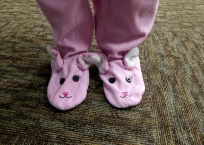 Djuina's bunny pajama feet