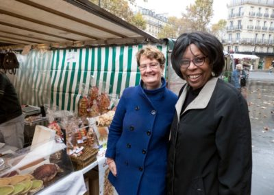 Dominique and Erma at the market