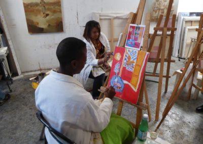 Naida and Michele painting